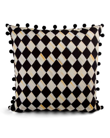 MacKenzie-Childs Courtly Harlequin Pompom Pillow - Black