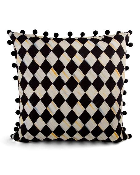 MacKenzie-Childs Courtly Harlequin Pompom Pillow - Black