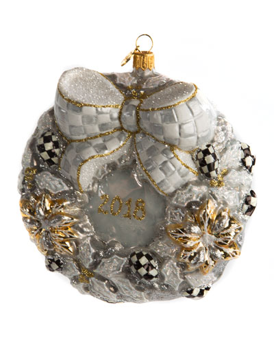 Silver Lining 2018 Annual Wreath Glass Christmas Ornament