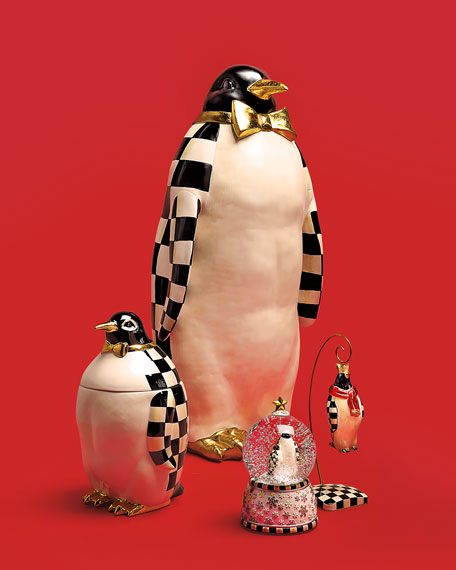 MacKenzie-Childs Courtly Check Penguin Cookie Jar