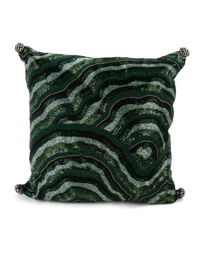Malachite Beaded Pillow