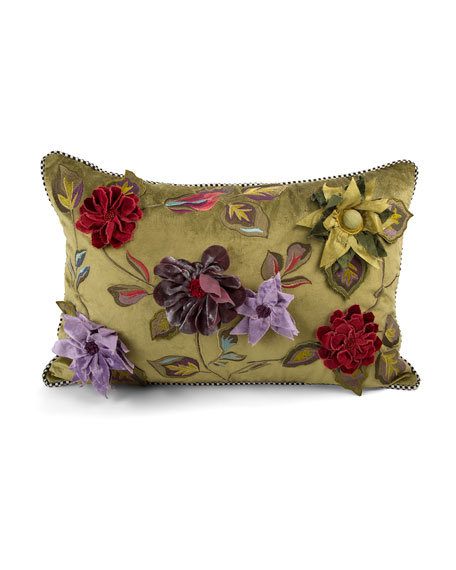MacKenzie-Childs Greengage Floral Lumbar Pillow