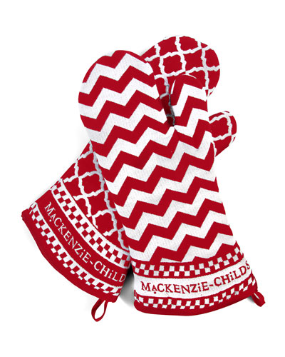 Red & White Dot Oven Mitts