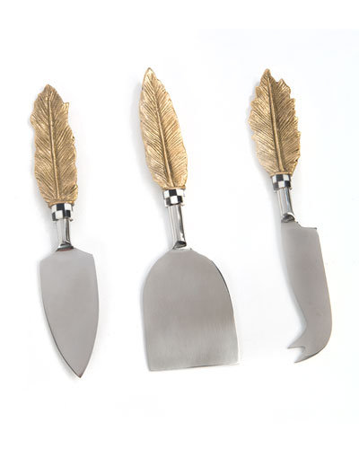 Feather Cheese Knives, Set of 3