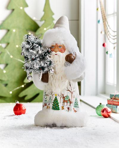 White Santa Figure with Painted Winter Scene