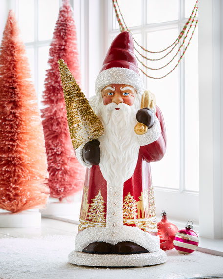 Red Santa Paper Mache Figure with Gold Tree