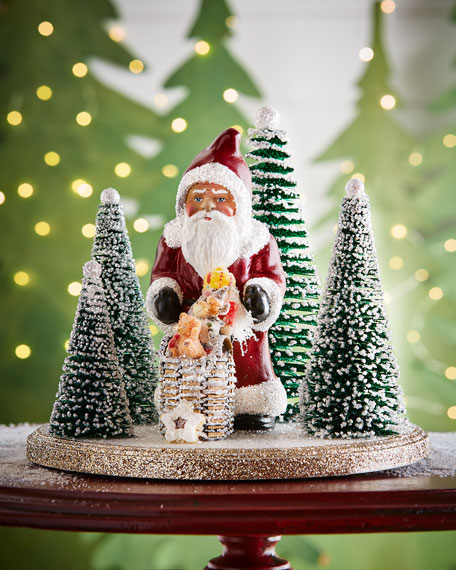 Ino Schaller Display Santa with Basket and Trees