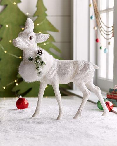 White Glitz Standing Deer Decor