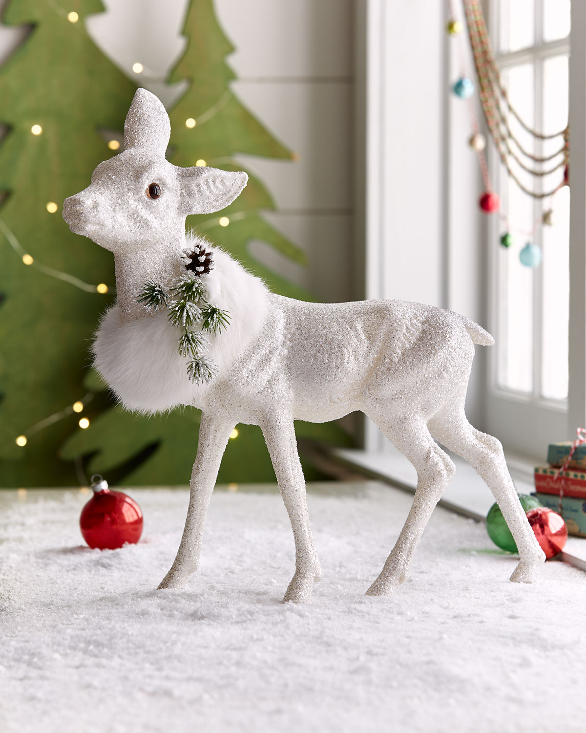 white glitz standing deer decor