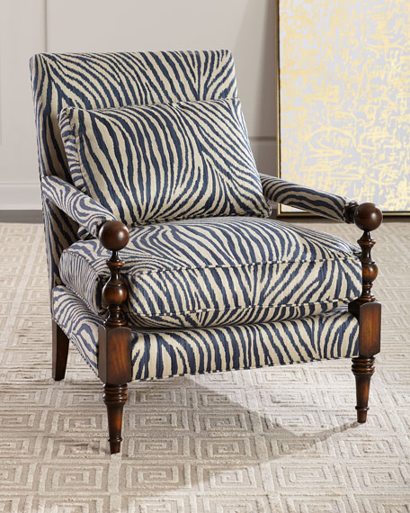 Zebra Transitional-Style Arm Chair