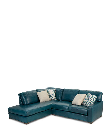 Shariah Leather Left-Chaise Sectional