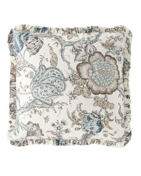 French Laundry Home Floral-Print Pillow with Mini Ruffle