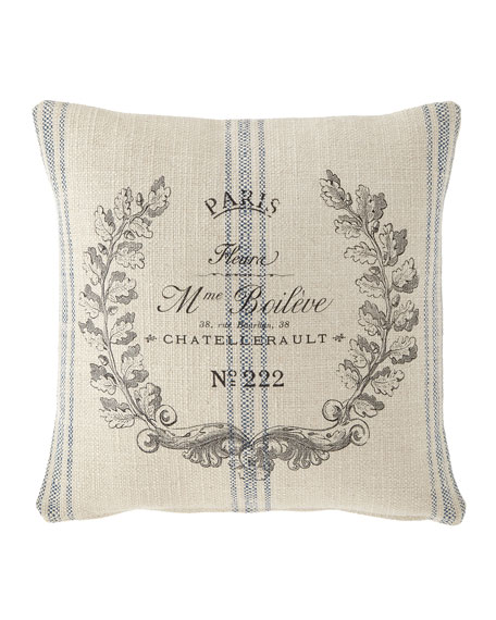 Marine Stripe Paris Crest Pillow