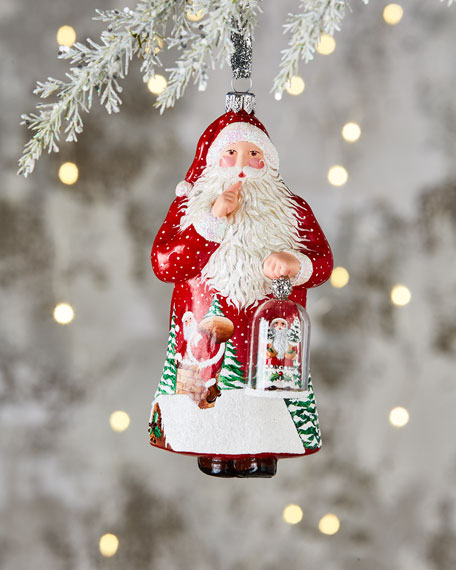 Patricia Breen Glass Bell Santa Ornament