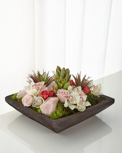 Succulents and Rose Quartz  Faux-Floral Arrangement