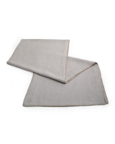 Brass-Beaded Linen Table Runner, Slate
