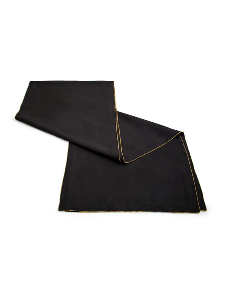 Brass-Beaded Linen Table Runner, Charcoal