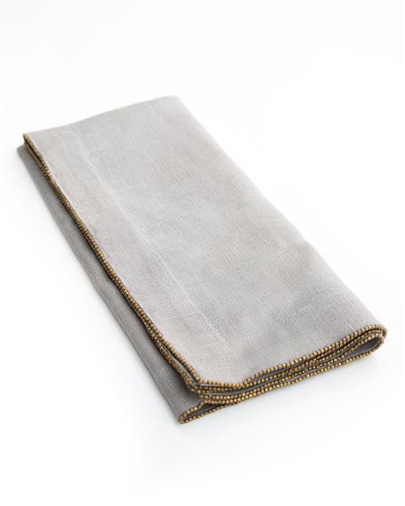 Brass-Beaded Dinner Napkin, Slate
