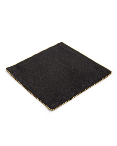 Michael Aram Brass-Beaded Cocktail Napkin, Charcoal