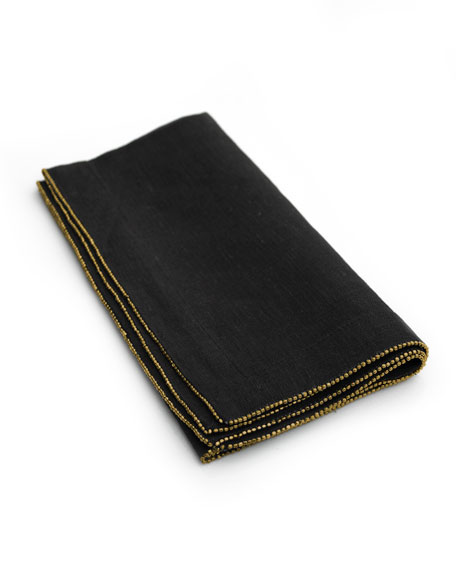 Michael Aram Brass-Beaded Dinner Napkin, Charcoal