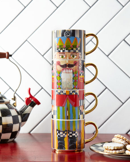 MacKenzie-Childs Nutcracker Mug Tower, Set of 4