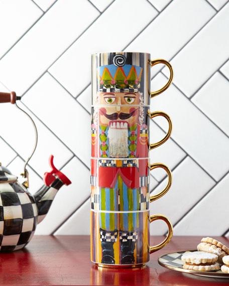MacKenzie-Childs Nutcracker Mug Tower, Set of 4