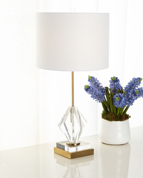 Josephine Crystal Diamond Table Lamp with Brass Metal Base