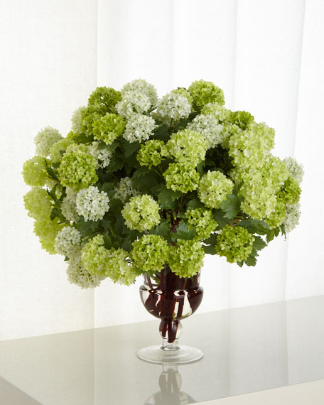 Snowball Hydrangea Faux-Floral Arrangement in Glass Urn