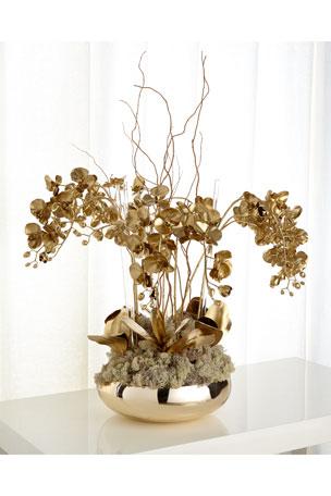 John-Richard Collection Golden Phalaenopsis Orchid Faux Floral Arrangement