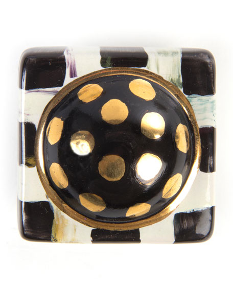 MacKenzie-Childs Courtly Check Square Majolica Decorative Knob