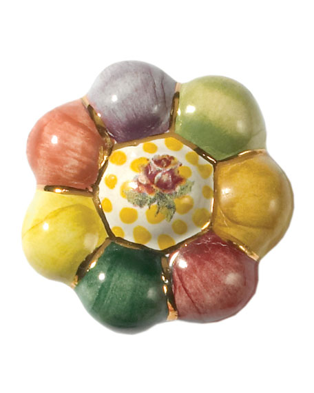 Flower Rosie Posie Majolica Decorative Knob