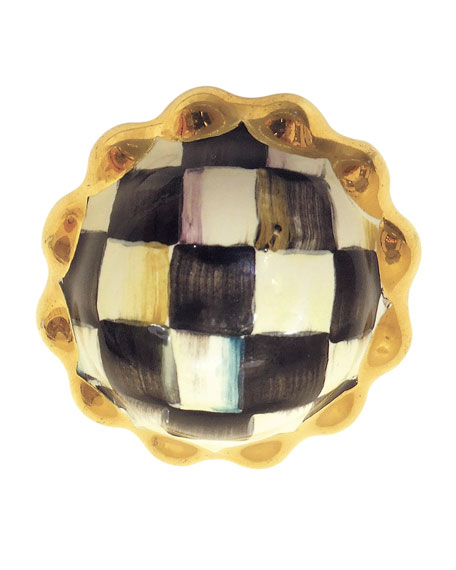 Petit Four Round Courtly Check Majolica Decorative Knob
