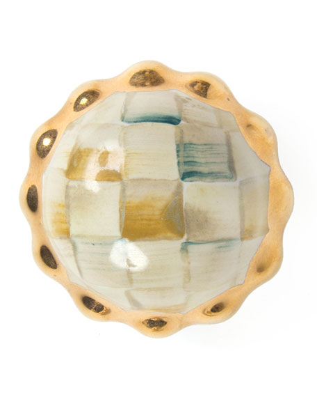 Petit Four Round Parchment Check Majolica Decorative Knob
