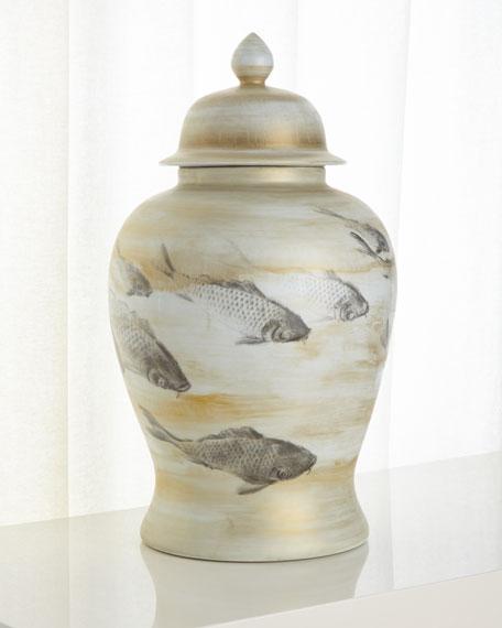 Large Lidded Porcelain Vase with Fish Pattern