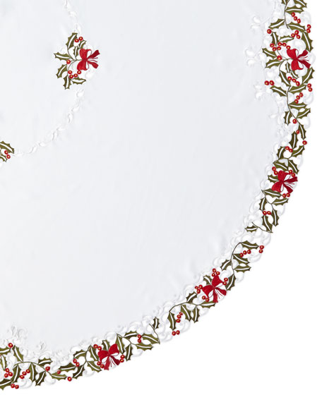 """Holly 90"""" Round Tablecloth & 12 Napkins"""