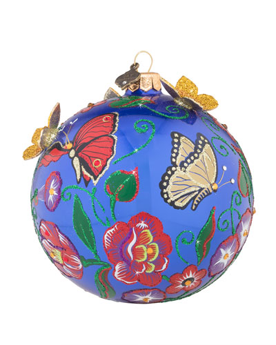 Butterfly Artisan Glass Ball Christmas Ornament, 4
