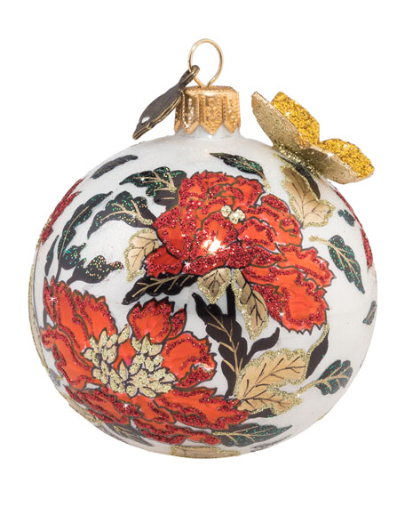 """Chinoiserie Artisan Glass Ball Christmas Ornament, 3""""Dia."""