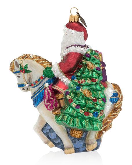 Santa on Horse Glass Christmas Ornament