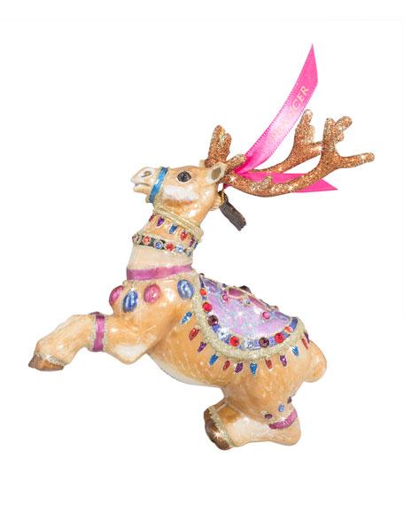 Prancer Reindeer Glass Christmas Ornament