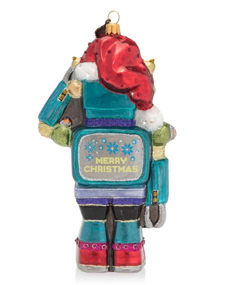 Vintage-Inspired Toy Robot Glass Christmas Ornament