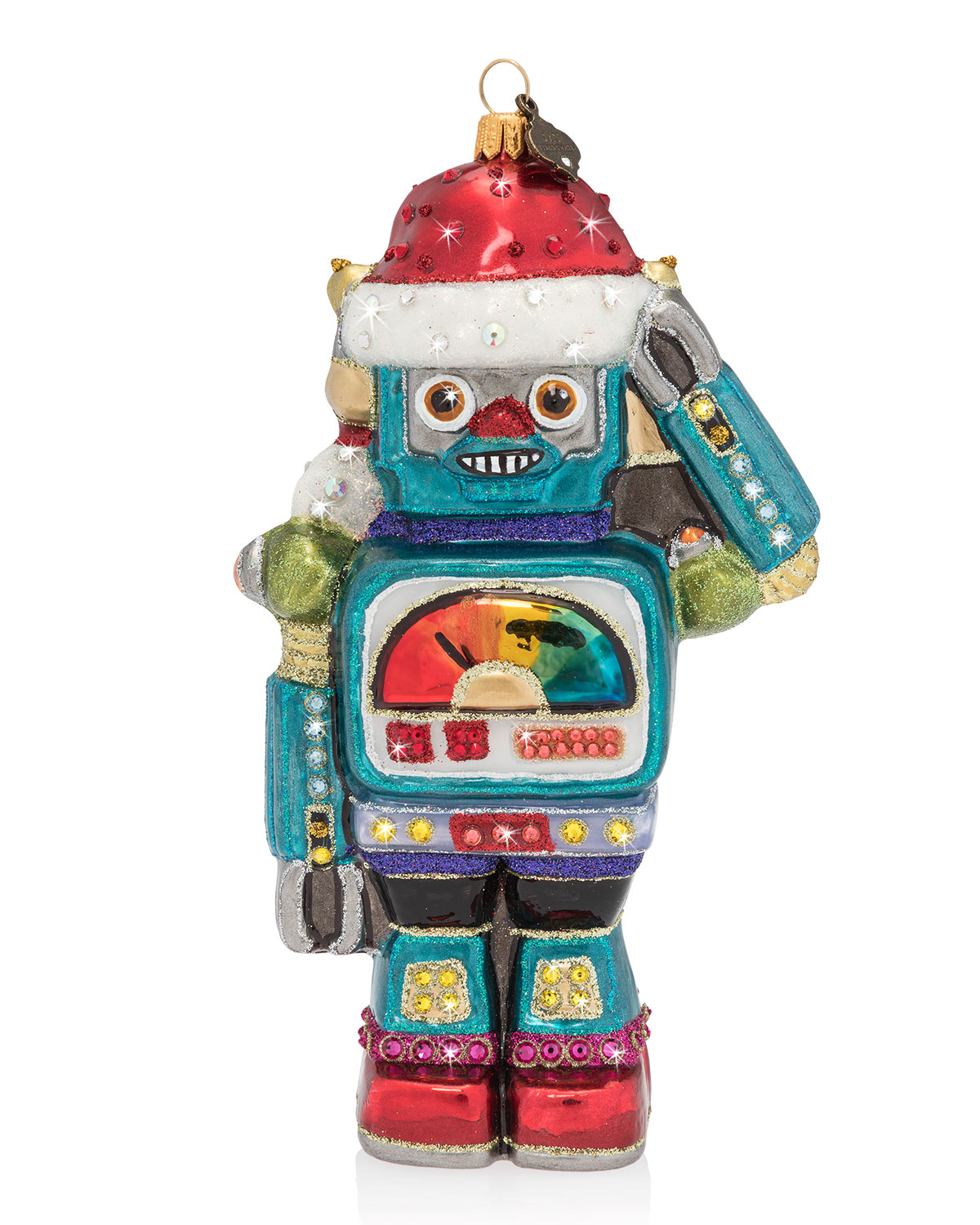 Jay Strongwater Vintage Inspired Toy Robot Glass Christmas