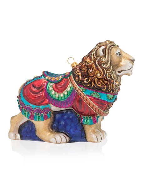 Carousel Lion Glass Christmas Ornament