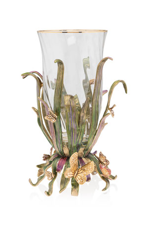 Jay Strongwater Butterfly and Leaf Vase