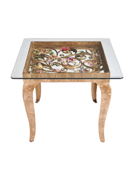 Jay Strongwater Floral Side Table