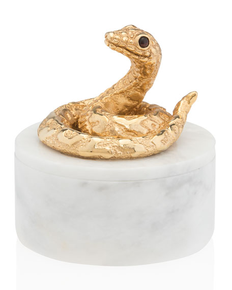 Jay Strongwater White Marble Snake Box