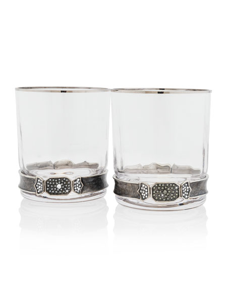 Jay Strongwater Double Old Fashioned Glasses, Set of
