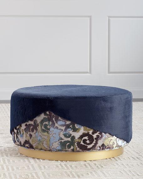 Misha Faux-Fur Round Ottoman