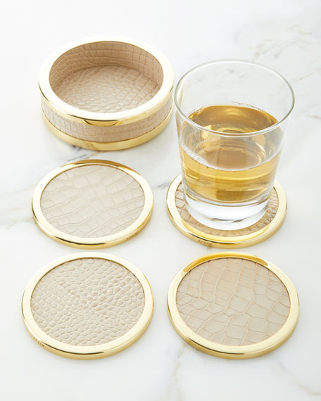Colette Croc-Embossed Leather Coasters, Set of 4