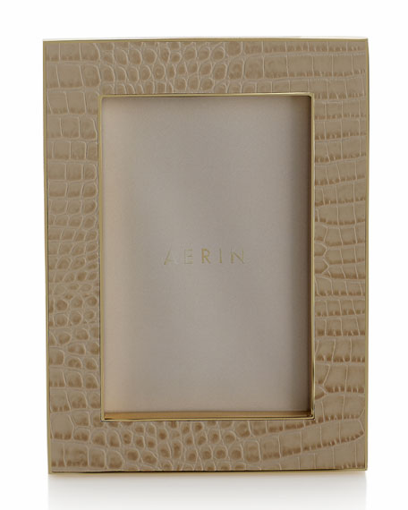 """Classic Croc-Embossed Leather Frame, 4"""" x 6"""""""