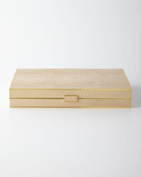 Croc-Embossed Leather Backgammon Set
